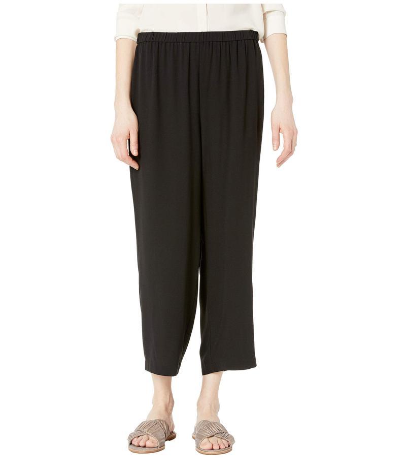 エイリーンフィッシャー レディース カジュアルパンツ ボトムス Straight Cropped Pants Black Silk Georgette Crepe