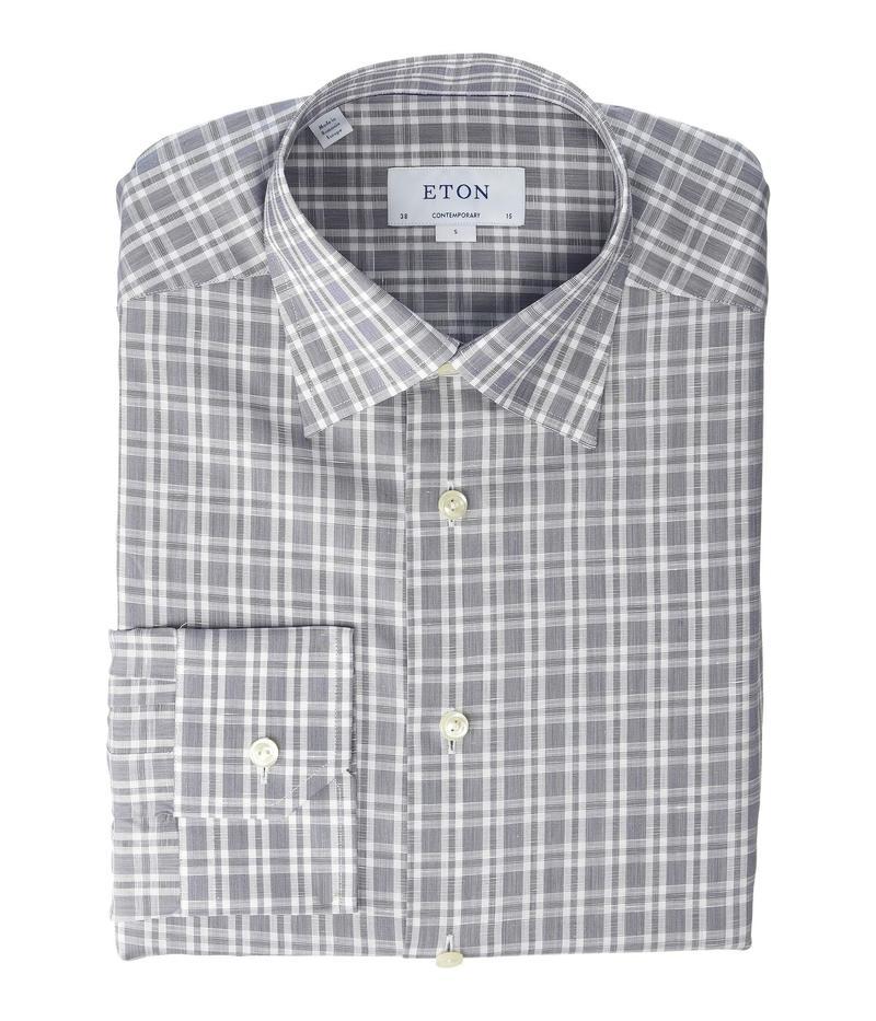エトン メンズ シャツ トップス Contemporary Fit Plaid Cotton/Linen Shirt Navy