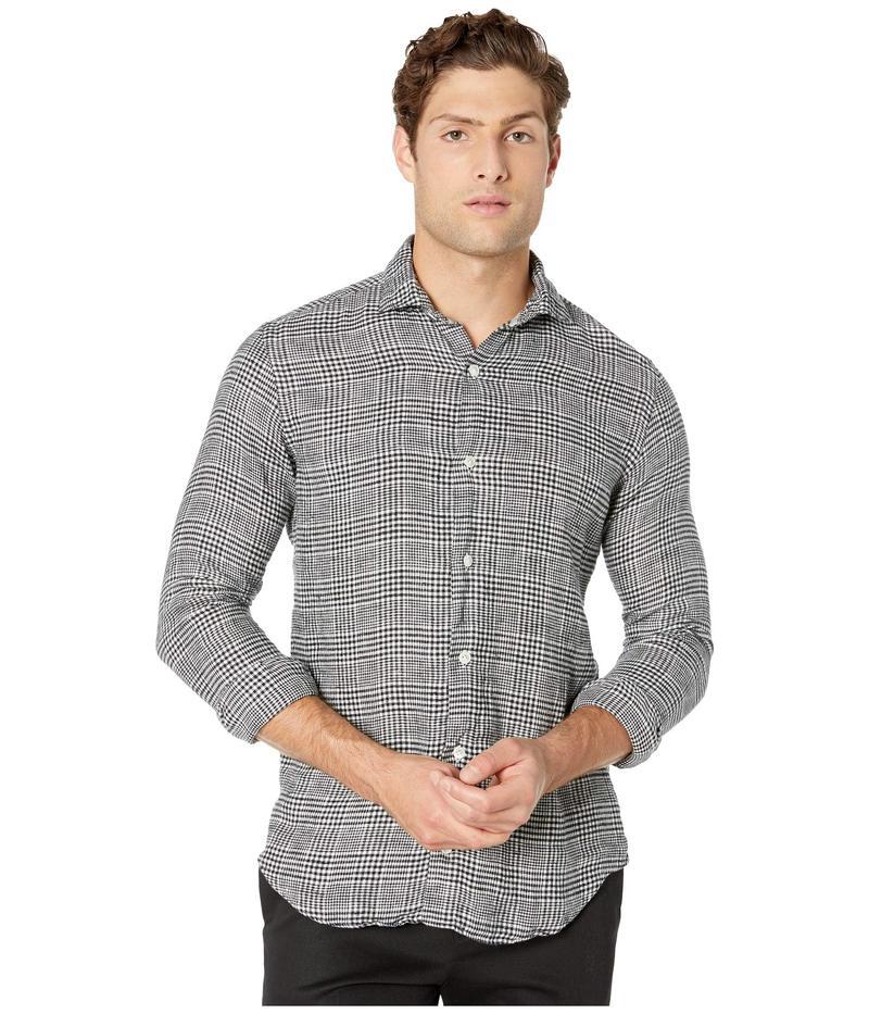 イレブンティ メンズ シャツ トップス Large Plaid Spread Collar Shirt Black/White