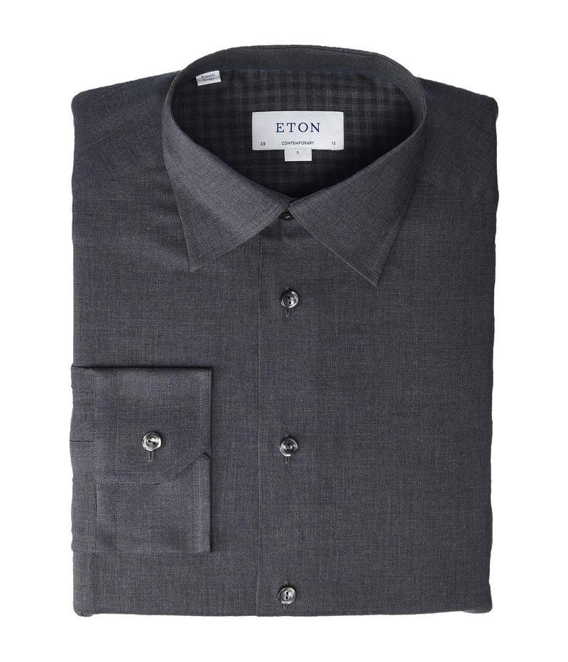 エトン メンズ シャツ トップス Contemporary Fit Brushed Flannela Shirt Green