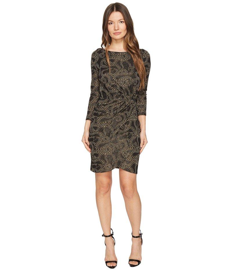 ジャストカバリ レディース ワンピース トップス Jersey Long Sleeve Snake Jacquard Print Dress Black
