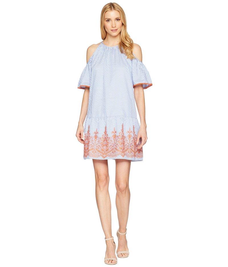 マギーロンドン レディース ワンピース トップス Embroidery Stripe Cold Shoulder Shift Dress Blue/White/Orange