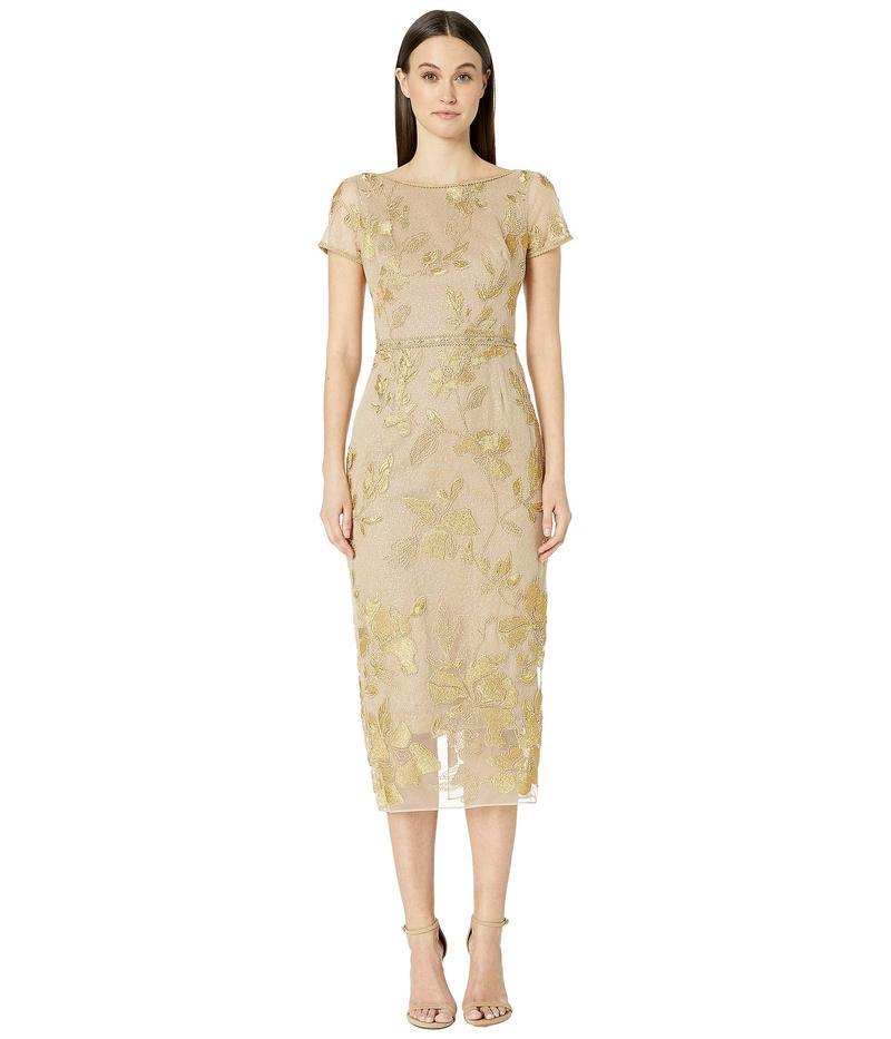 マルケサノット レディース ワンピース トップス Short Sleeve Metallic Embroidered Shift Dress Gold