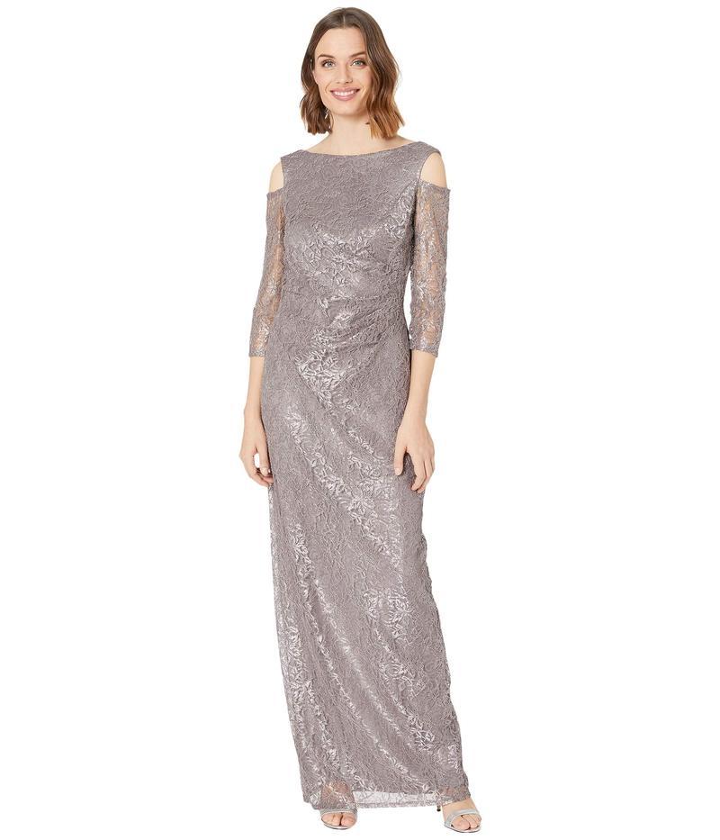マリナ レディース ワンピース トップス Long Lace Dress w/ Cold-Shoulder Mink