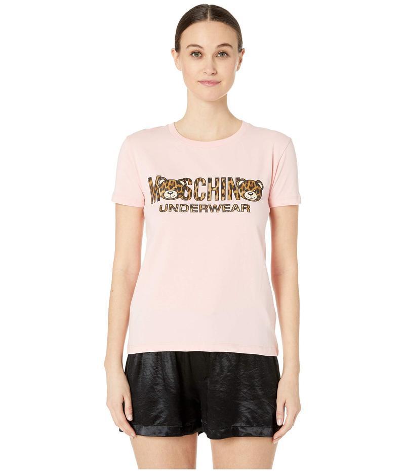 モスキーノ レディース シャツ トップス Jersey Stretch T-Shirt w/ Tiger Teddy Bear Lettering Pink