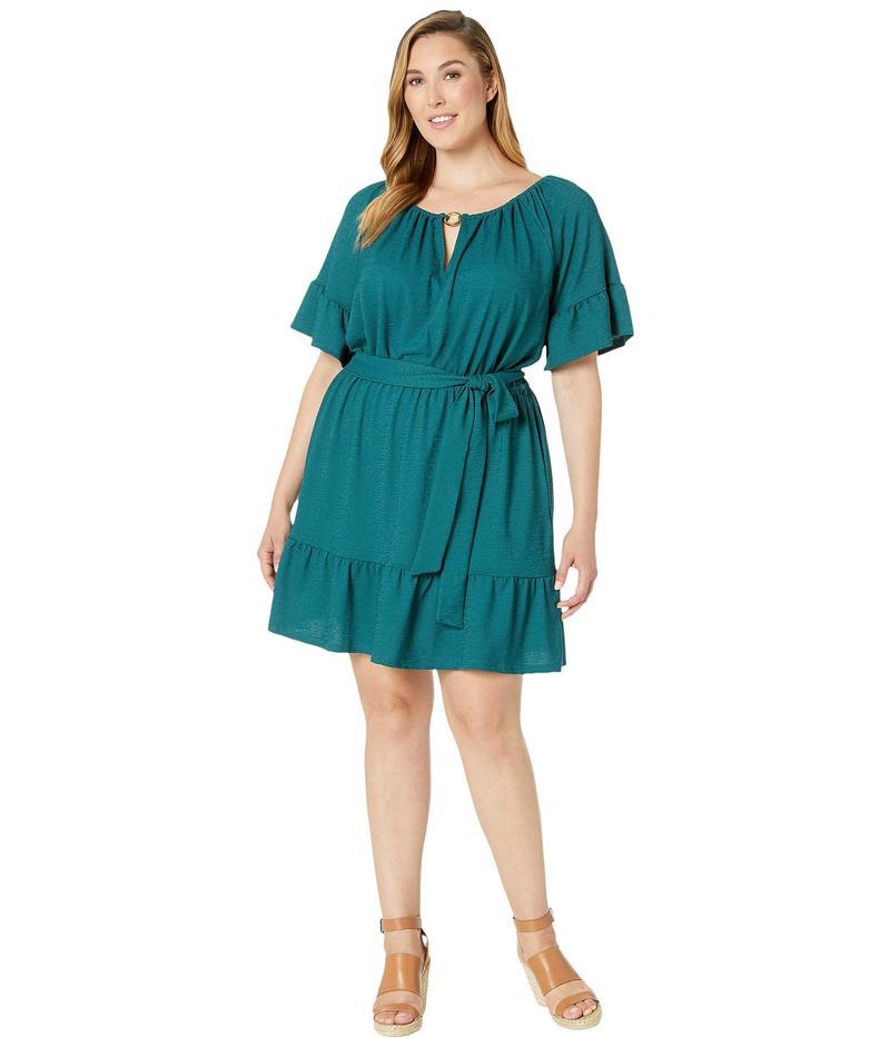 マイケルコース レディース ワンピース トップス Plus Size Cut Out Ruffle Hem Dress Atlantic