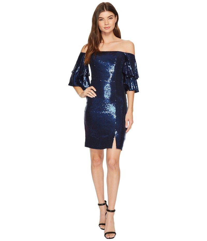 ニコルミラー レディース ワンピース トップス Charlie Stretch Sequin Party Dress Navy