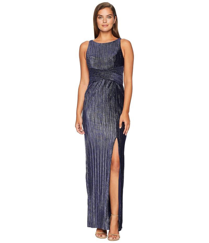 アドリアナ パペル レディース ワンピース トップス Pleat Velvet Column Dress Navy