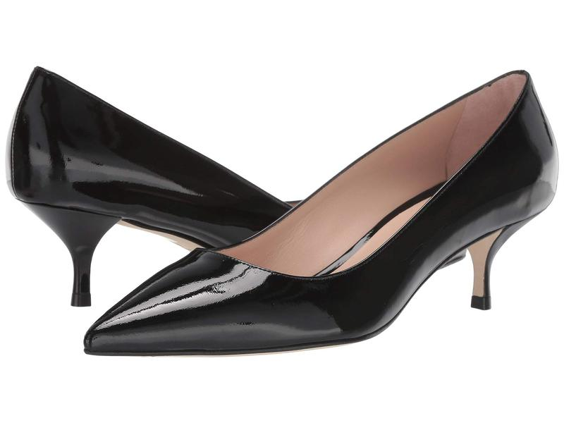 スチュアート ワイツマン レディース ヒール シューズ Cindy 45 Kitten Heel Black Patent
