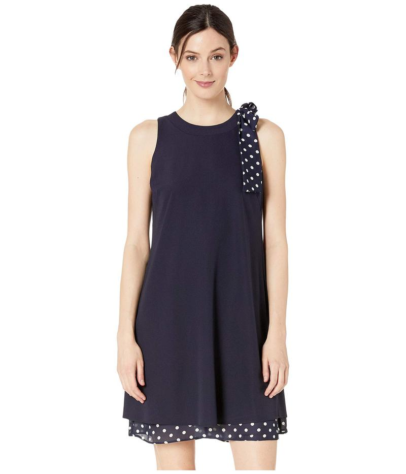 タハリ レディース ワンピース トップス Stretch Crepe Dress with Polka Dot Bow Shoulder and Hemline Navy