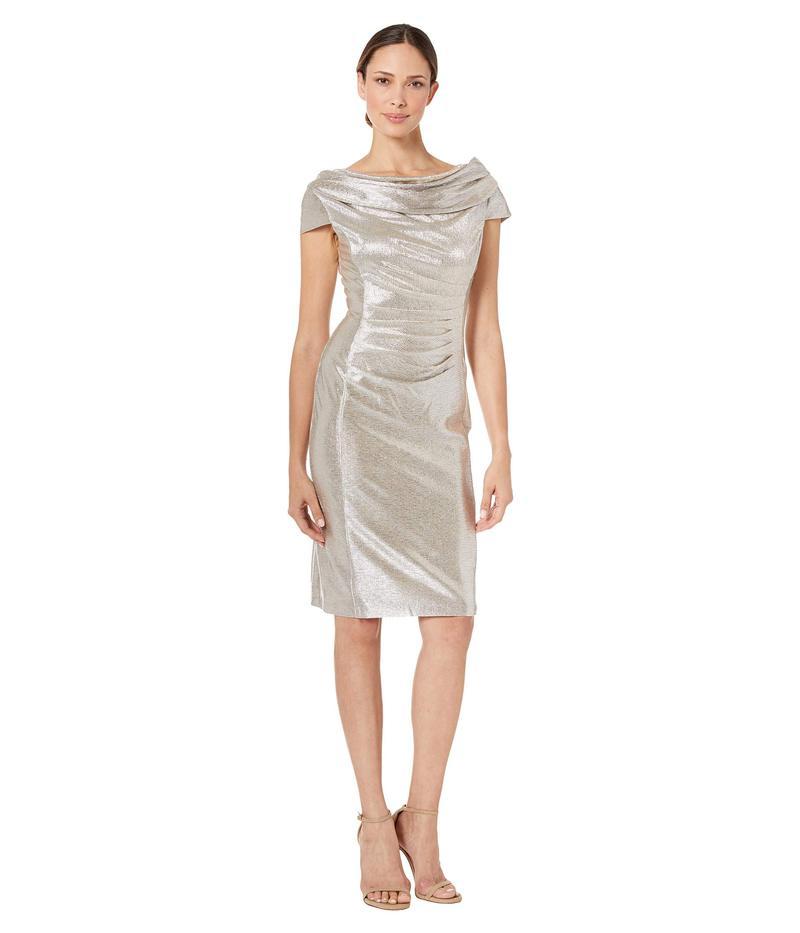 タハリ レディース ワンピース トップス Draped Neck Cap Sleeve Stretch Metallic Cocktail Dress Silver Powder
