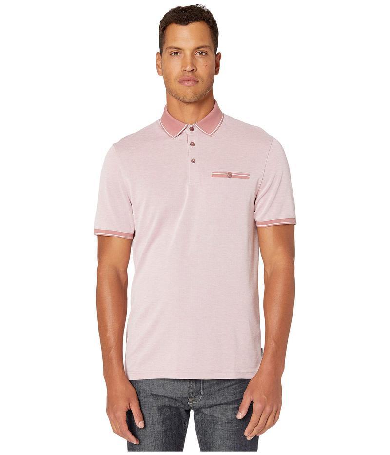 テッドベーカー メンズ シャツ トップス Mightie Short Sleeve Flat Knit Soft Touch Polo Mid Pink