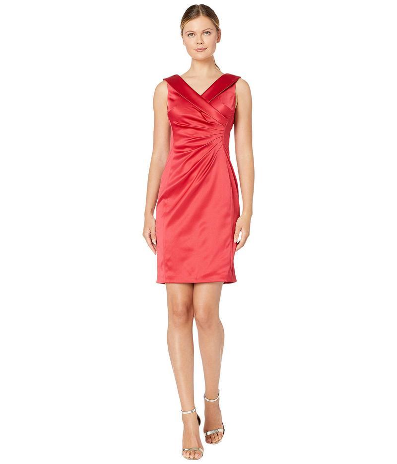 タハリ レディース ワンピース トップス Sleeveless Stretch Satin Cocktail Dress w/ Side Ruching and Portrait Collar Lipstick Red