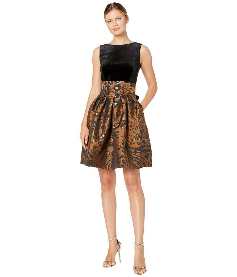 タハリ レディース ワンピース トップス Sleeveless Velvet and Animal Print Jacquard Cocktail Dress Copper Leopard