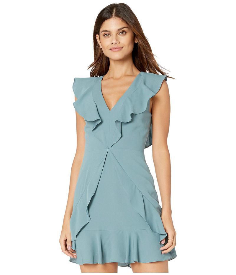 ビーシービージーマックスアズリア レディース ワンピース トップス Short V-Neck Dress with Ruffle Detail Blue Ash