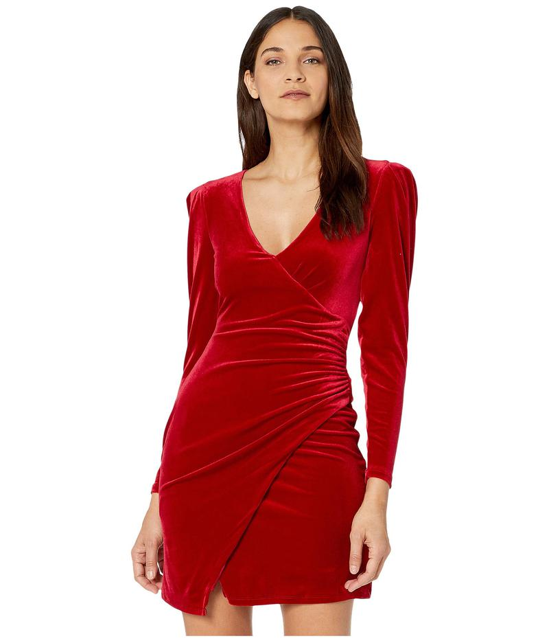ビーシービージーマックスアズリア レディース ワンピース トップス Long Sleeve V-Neck Stretch Velvet Cocktail Dress Passion Red