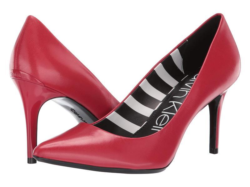 カルバンクライン レディース ヒール シューズ Gayle Pump Scarlet Leather Stripes