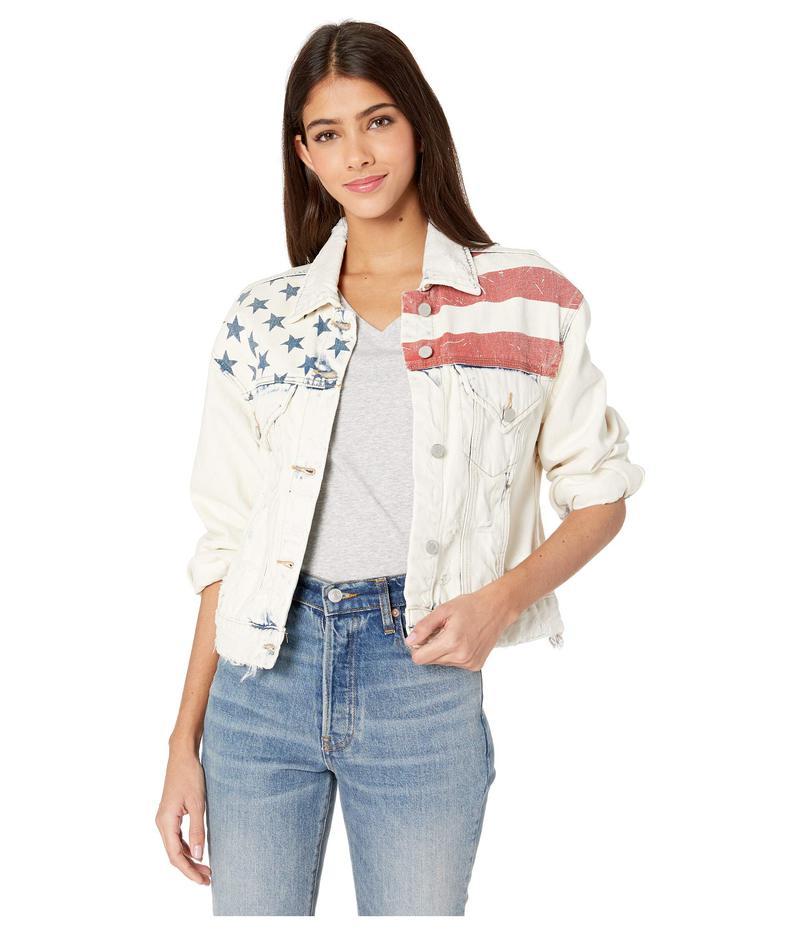 ブランクニューヨーク レディース コート アウター Light Wash Denim Jacket with Flag Detail in Unmet Expectation Unmet Expectation