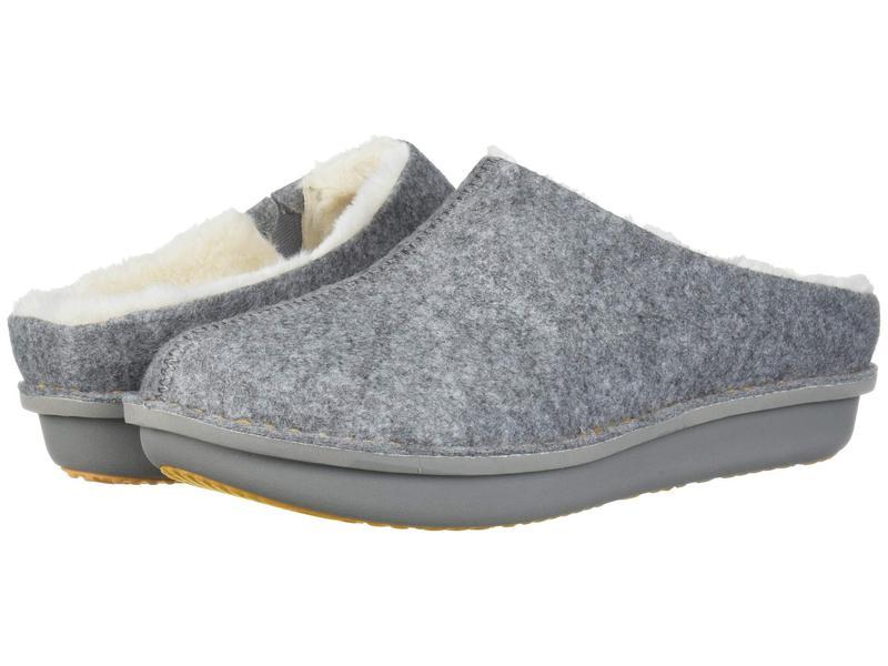 クラークス レディース サンダル シューズ Step Flow Clog Grey Felt/Faux Fur