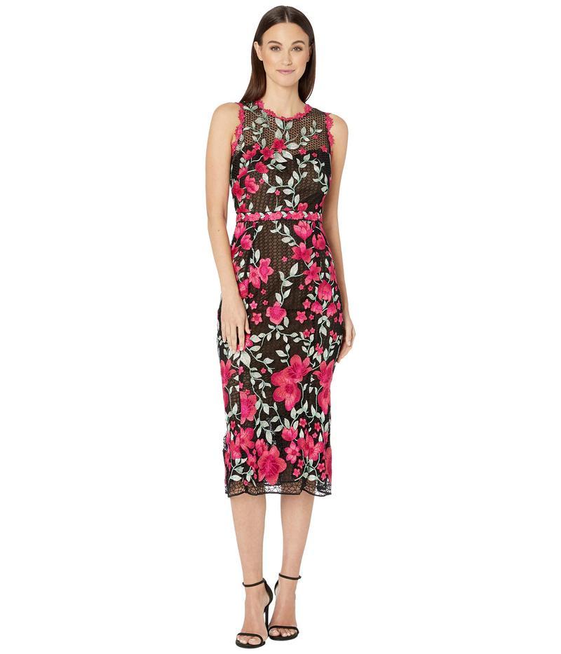 マルケサノット レディース ワンピース トップス Sleeveless Embroidered Guipure Tea-Length Gown Black