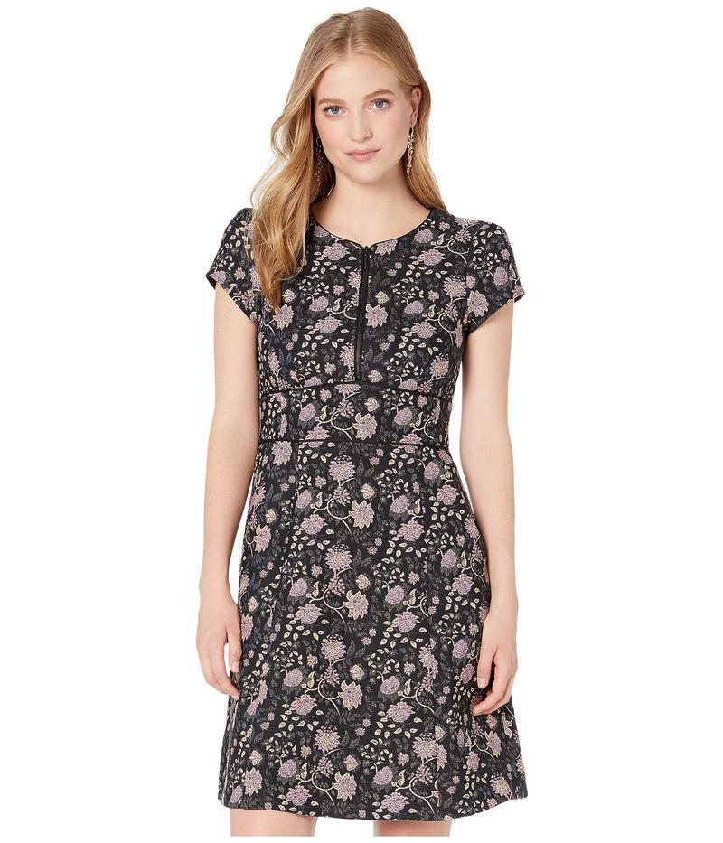 ナネットレポー レディース ワンピース トップス Floral Jacquard Zip Dress Black Multi