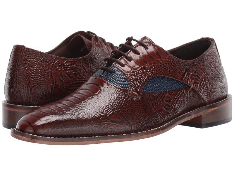 ステイシーアダムス メンズ オックスフォード シューズ Ricoletti Leather Sole Plain Toe Oxford Cognac/Dark Blue