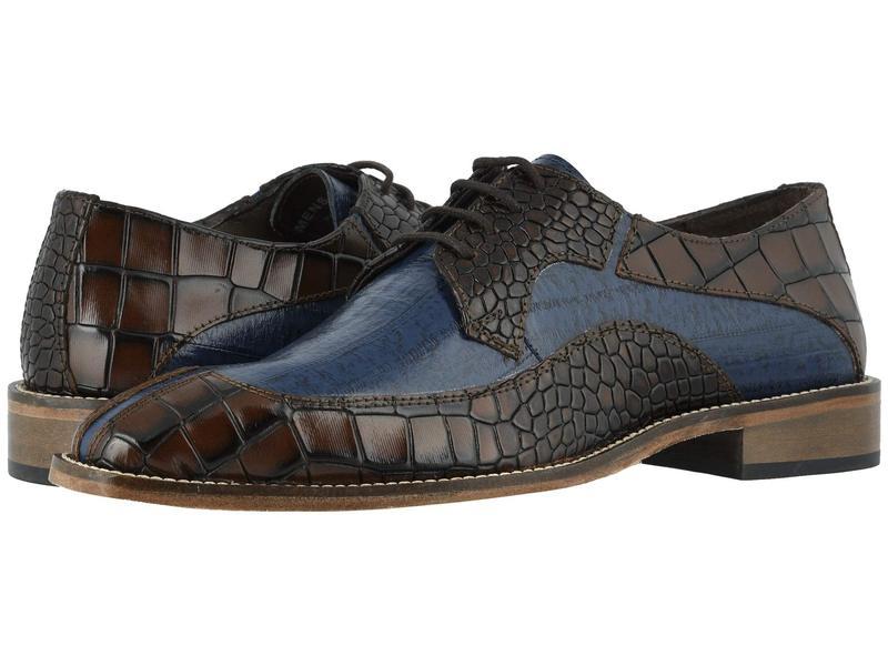 ステイシーアダムス メンズ オックスフォード シューズ Trimarco Leather Sole Moe Toe Oxford Cognac/Dark Blue