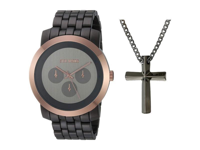 スティーブ マデン メンズ 腕時計 アクセサリー Watch and Necklace Set SMWS062 Silver