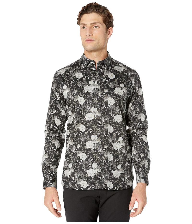 テッドベーカー メンズ シャツ トップス Stylo Long Sleeve Floral Monochrome Shirt Black
