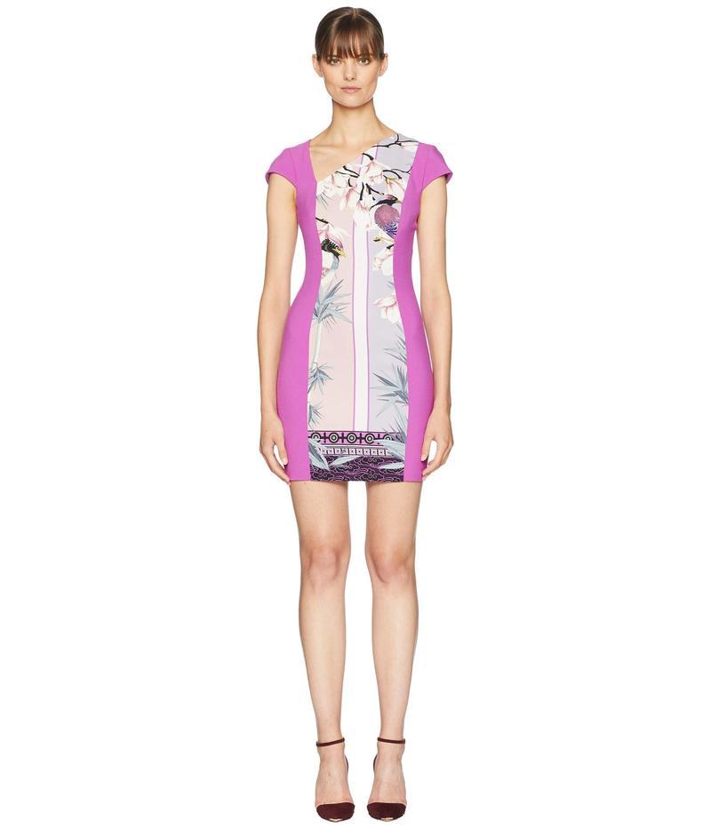 ヴェルサーチ レディース ワンピース トップス Print Blocked Side V Dress Pink