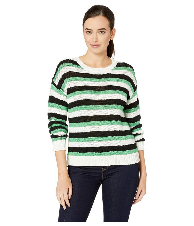 ヴィンスカムート レディース ニット・セーター アウター Long Sleeve Stripe Color Block Crew Neck Sweater Pearl Ivory