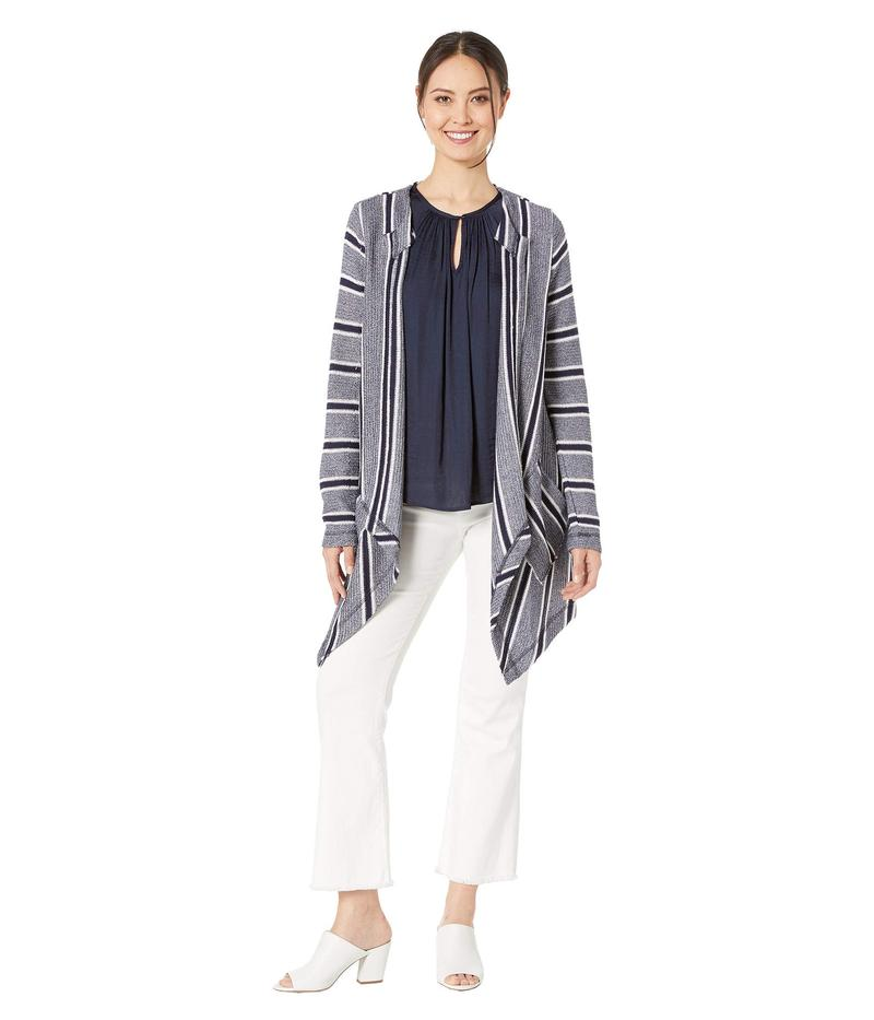 ヴィンスカムート レディース ニット・セーター アウター Long Sleeve Sweater Like Stripe Drapey Cardigan Classic Navy