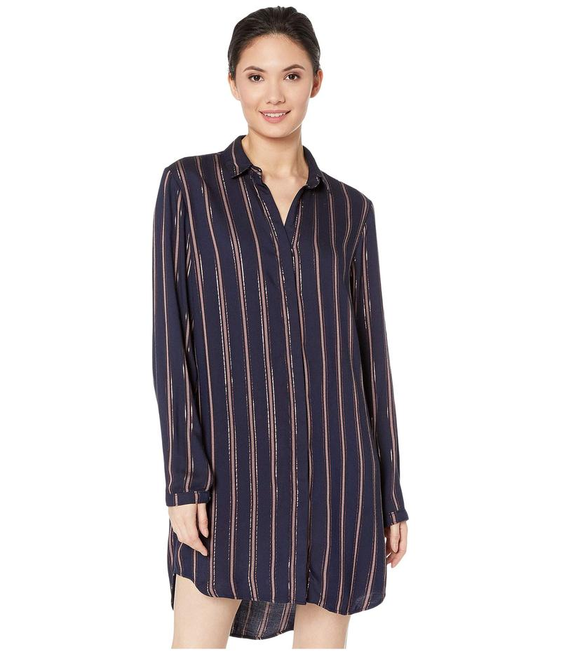 ベラダール レディース ワンピース トップス Bridgeport Lurex Stripe Hidden Placket Classic Shirtdress Navy