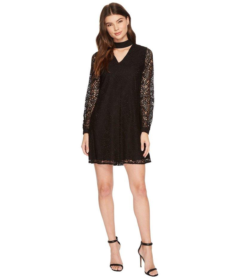 セセ レディース ワンピース トップス Paisley Lace Mock Choker Mini Dress Rich Black