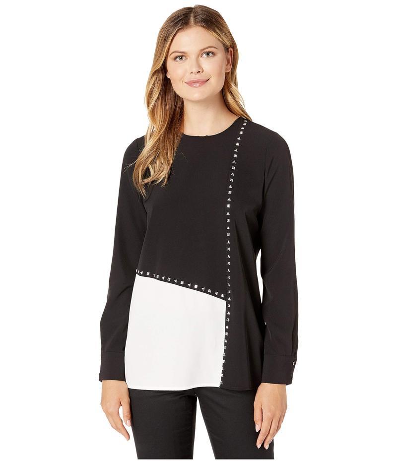 カルバンクライン レディース シャツ トップス Long Sleeve Color Block Blouse with Studs Black/White Abstract