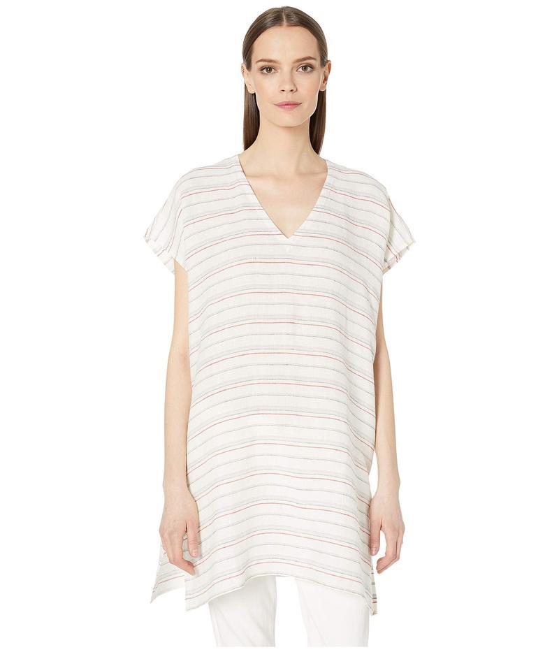 エイリーンフィッシャー レディース シャツ トップス Organic Linen Stripe V-Neck Tunic White