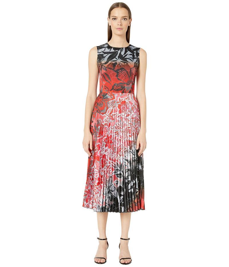 フィッジ レディース ワンピース トップス Plisse Satin Dress in Degrade Print Rubino