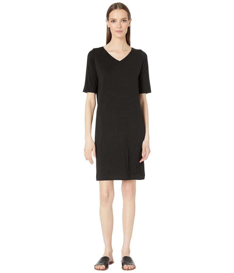 エイリーンフィッシャー レディース ワンピース トップス V-Neck Shift Dress Black
