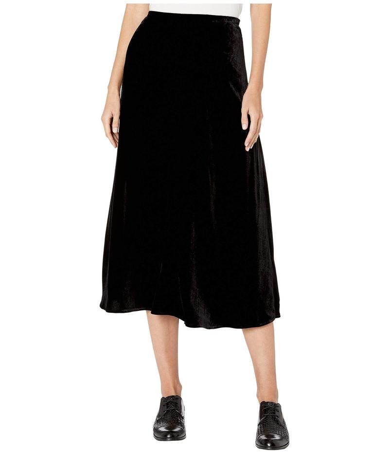 エイリーンフィッシャー レディース スカート ボトムス Velvet A-Line Calf Length Skirt with Side Split Black