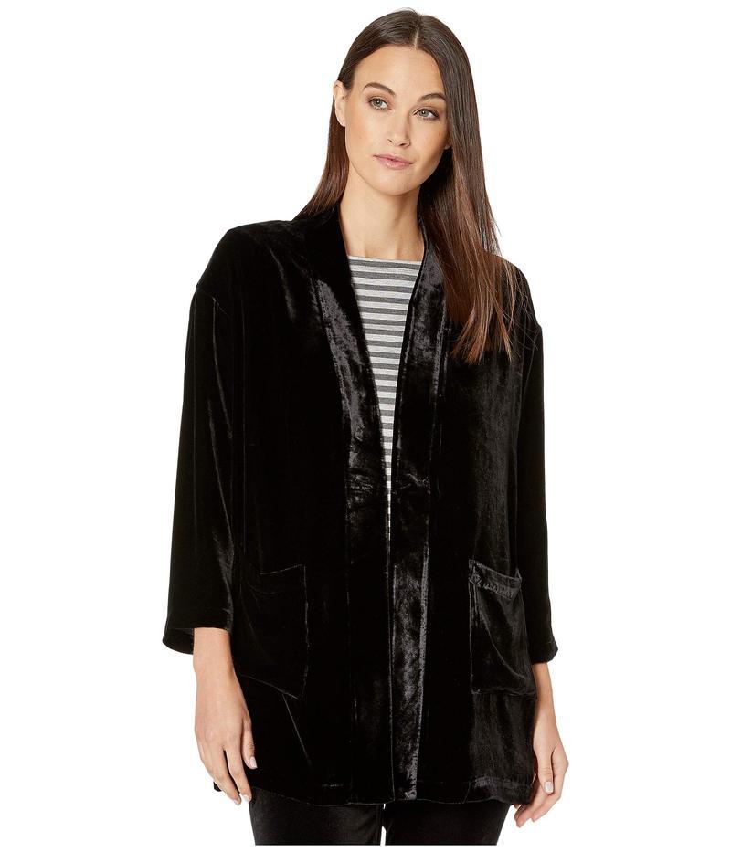 エイリーンフィッシャー レディース シャツ トップス Velvet Kimono Jacket Black