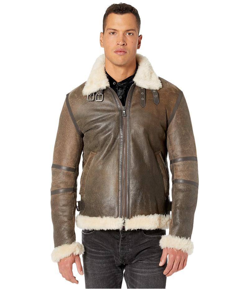 ジョンバルベイトス メンズ コート アウター Lamb Shearling Zip Jacket L1256V3 Rye