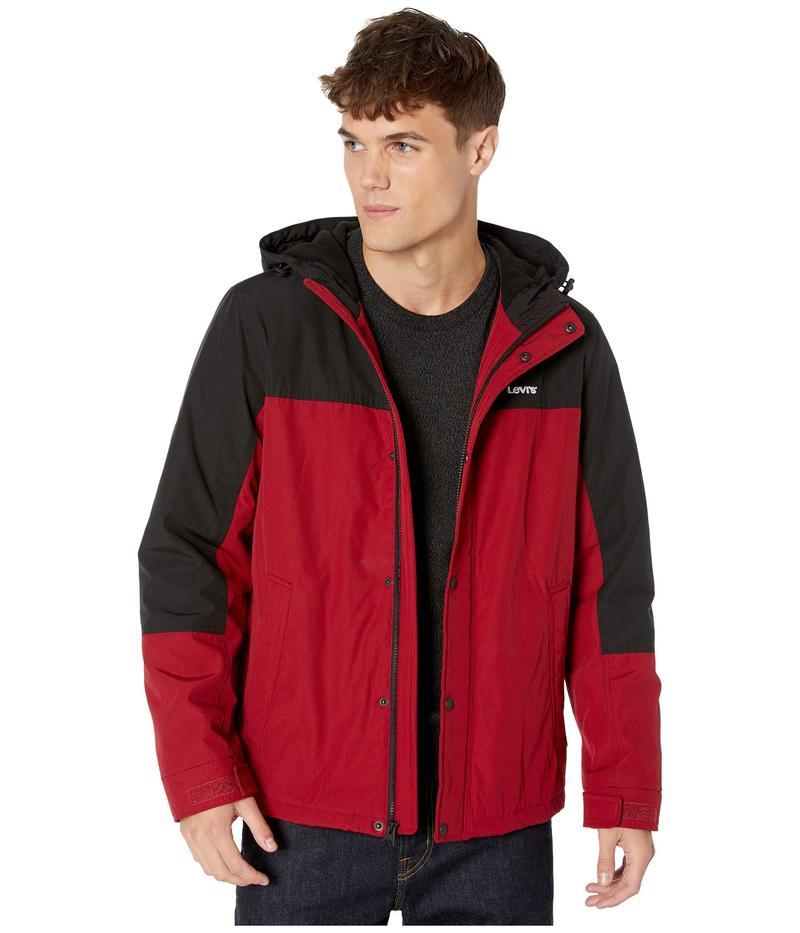 リーバイス メンズ コート アウター Rain Shell Jacket w/ Fleece Lining Red/Black