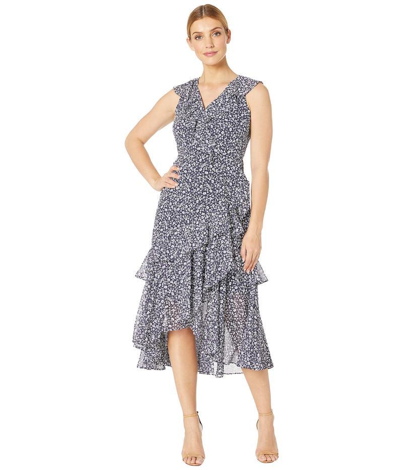 マギーロンドン レディース ワンピース トップス Petal Scroll Printed Chiffon Dress Navy/Blue