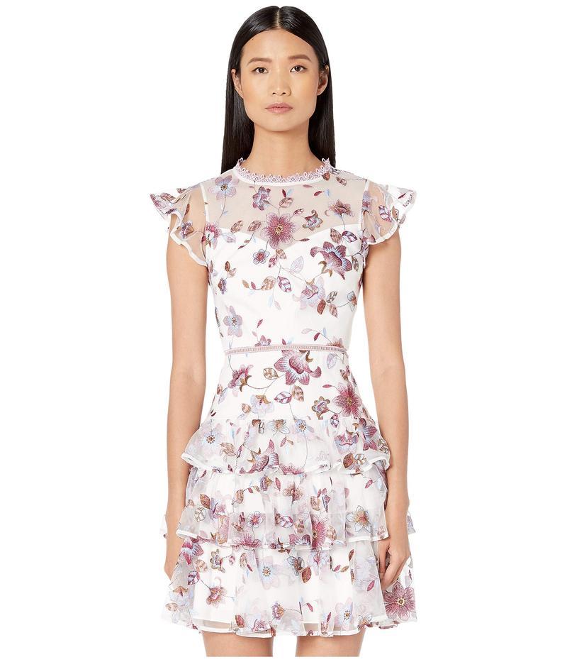 モニーク ルイリエ レディース ワンピース トップス Embroidered Mesh Tiered Dress with Ruffled Sleeves White Multi