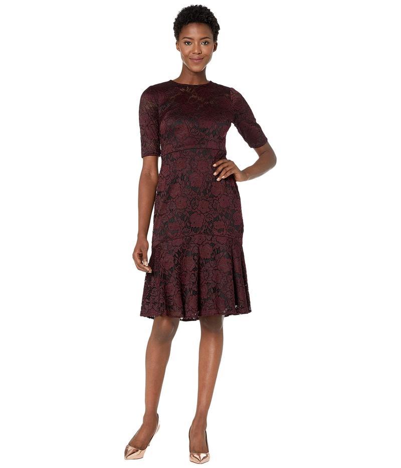 マギーロンドン レディース ワンピース トップス Two-Tone Rose Stretch Fit and Flare Cocktail Dress Burgundy