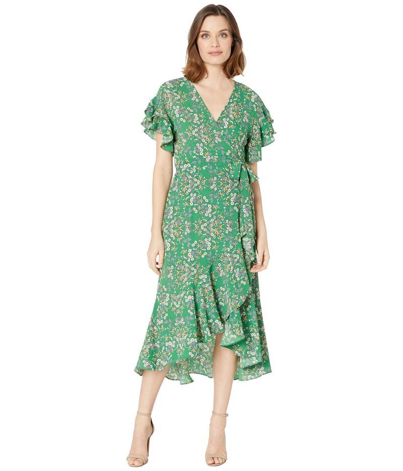 マックススタジオ レディース ワンピース トップス Short Sleeve Woven Wrap Dress Green/Gold