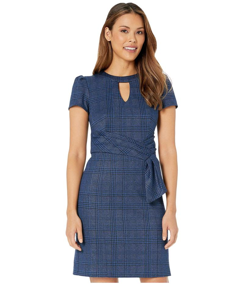 ナネットレポー レディース ワンピース トップス Monochrome Plaid Faux Belt Dress Blue
