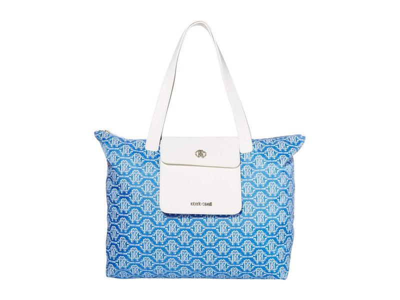 ロベルトカヴァリ レディース ハンドバッグ バッグ Shopping Tote Turquoise/White
