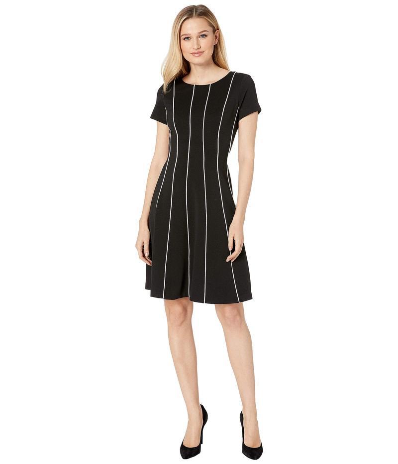 アドリアナ パペル レディース ワンピース トップス Daphne Ottoman Fit & Flare Dress Black