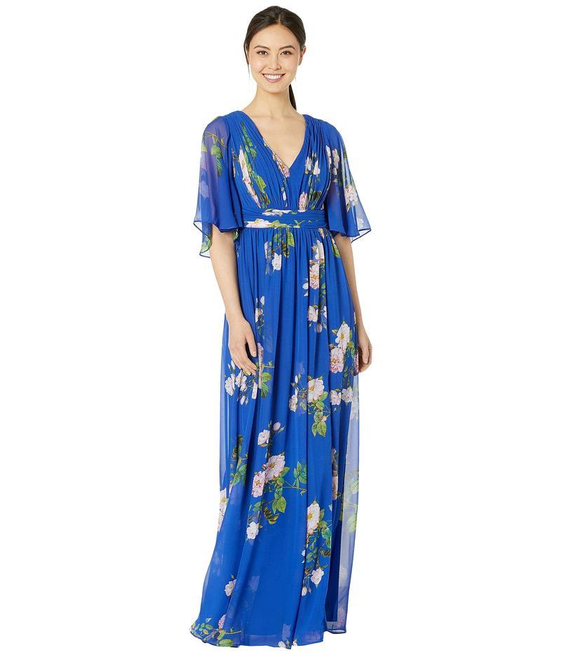 アドリアナ パペル レディース ワンピース トップス Flutter Sleeve Chiffon Floral Evening Gown Royal Multi